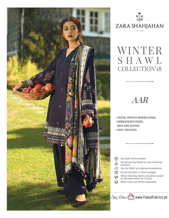 5020665d6c Album Name : Zara Shah Jahan Winter shawls collection 2018 Description :  Digital Printed Marina Shawl Embroidered Shirt Front ,back and Sleeve Dyed  Trouser ...