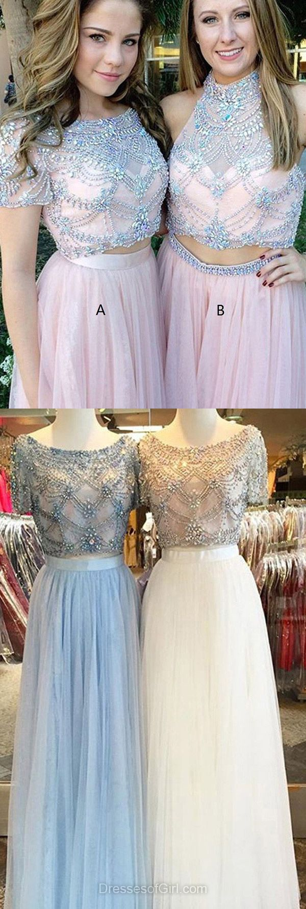 A-line Scoop Prom Dresses, Neck Tulle Long Formal Dresses, Beading Evening Party Gowns