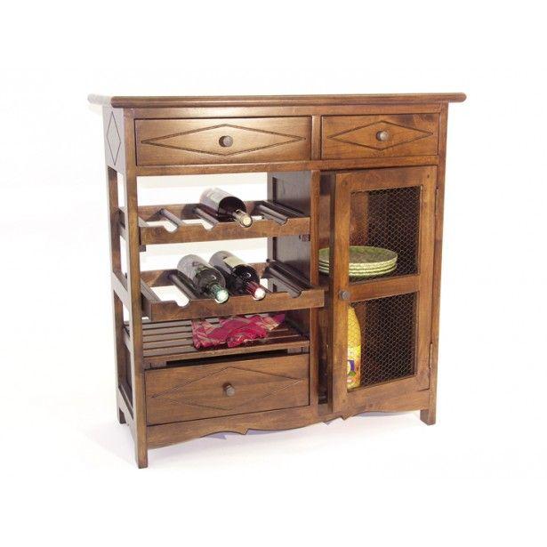 Meuble de cuisine Hévéa 3 tiroirs, 1 porte grillagée, 1 étagères, 2 racks à bouteilles