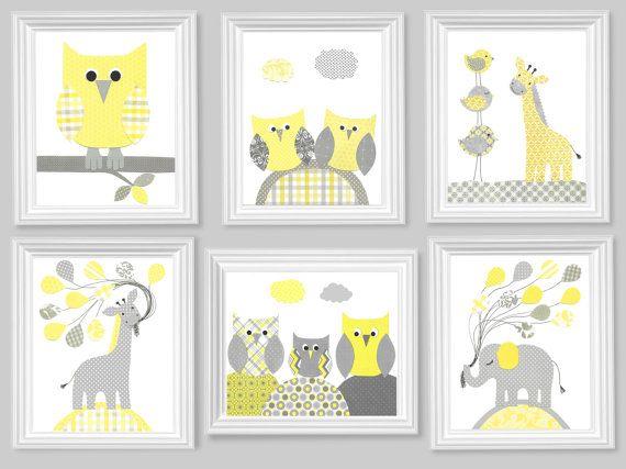 Gray and Yellow Nursery Art Prints Set of 6 by SweetPeaNurseryArt, $75.00