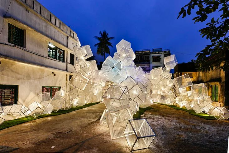 abin design studio forms the festive pavilion from tessellated boxes in india