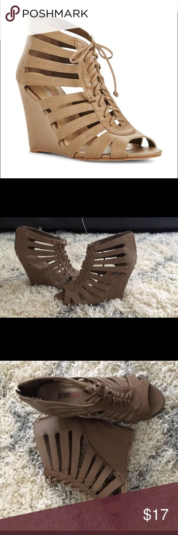 Tan wedge sandal Justfab wedge sandal. Size 6. like new condition JustFab Shoes Wedges