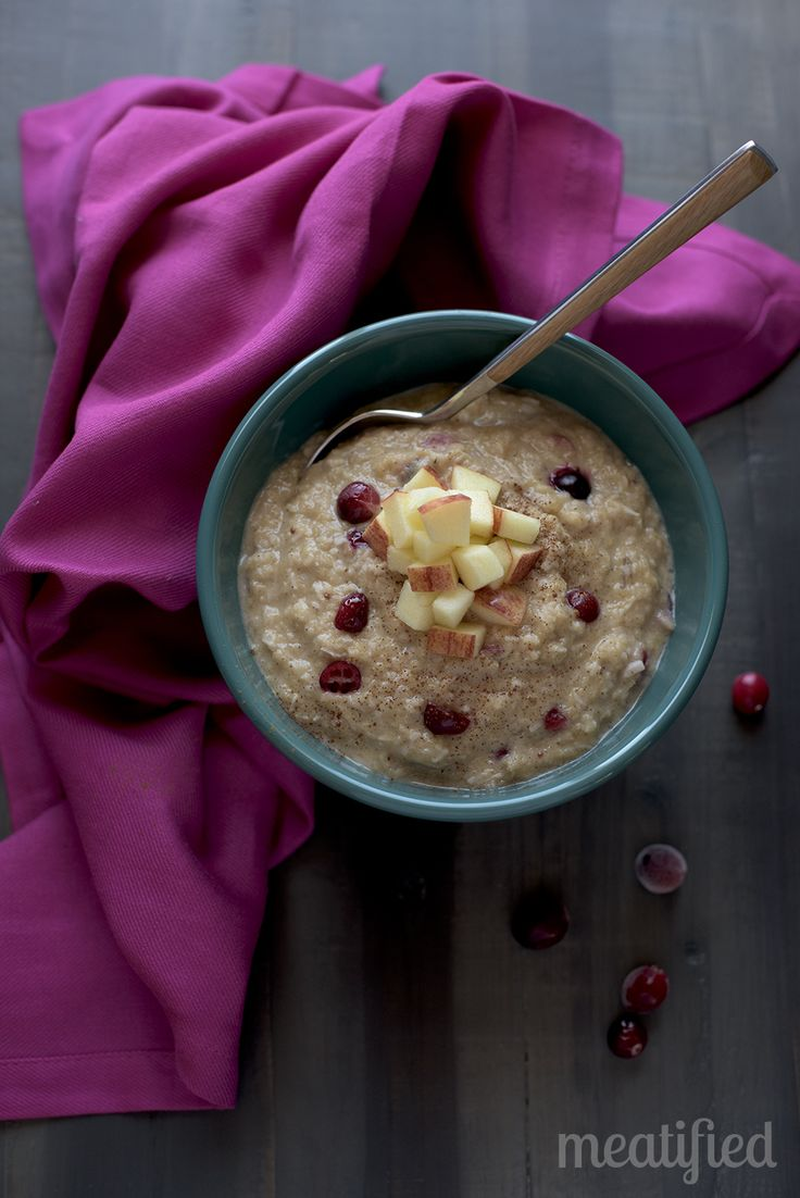 This grain free Apple & Cranberry Paleo Oatmeal is perfect for this time of year! With a boost of hidden veggies, it's AIP, vegan & dairy free, too.