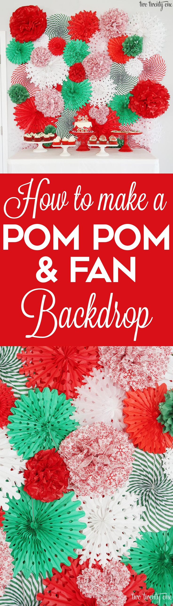 How to make a tissue paper pom pom and fan backdrop! Great step by step tutorial!