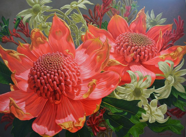 Waratahs and Flannel Flowers II, 101cm x 137cm, SOLD © Fiona Craig