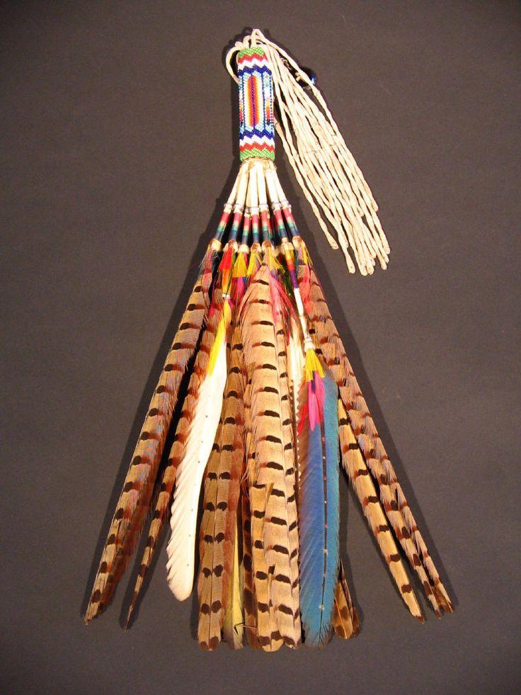 Historic American Indian Art Kiowa Beaded Peyote Fan 15 5