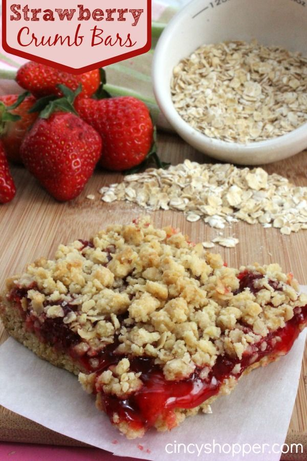 Strawberry Crumb Bars with oatmeal. Quick and Easy. Uses a Cake Mix. Great for breakfast or a dessert. We like them for evening snack.