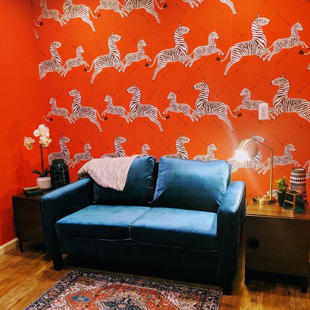 Red Zebra Wallpaper Peel And Stick Self Adhesive Wallpaper Etsy Zebra Wallpaper Self Adhesive Wallpaper How To Hang Wallpaper