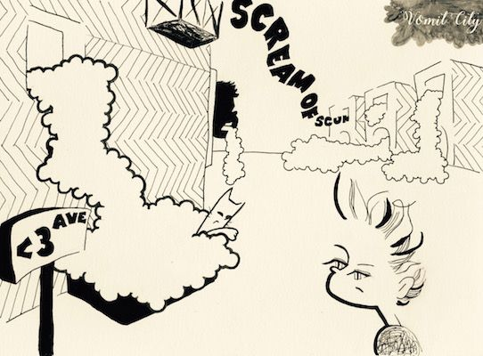 Vomit City #illustration #comic #cartoon #contemporaryart #イラスト #blackandwhite #pompadour