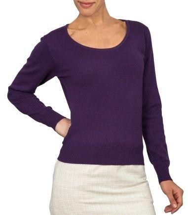 Blueberry Cashmere Womens Short Jumper   Ladies Wool Crop Sweater