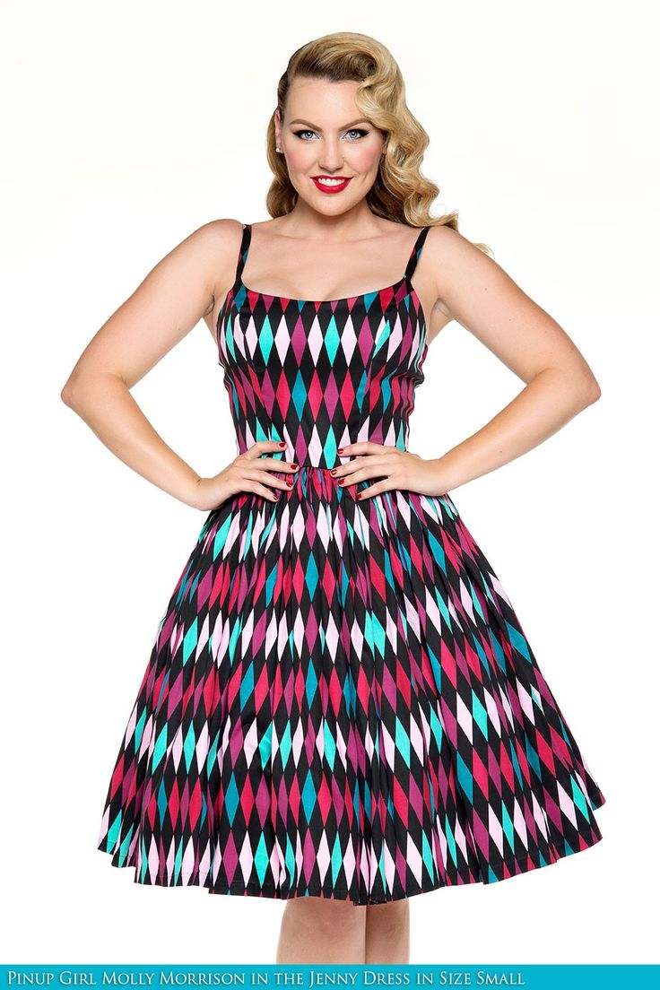 Jenny Dress in Turquoise and Black Harlequin Print