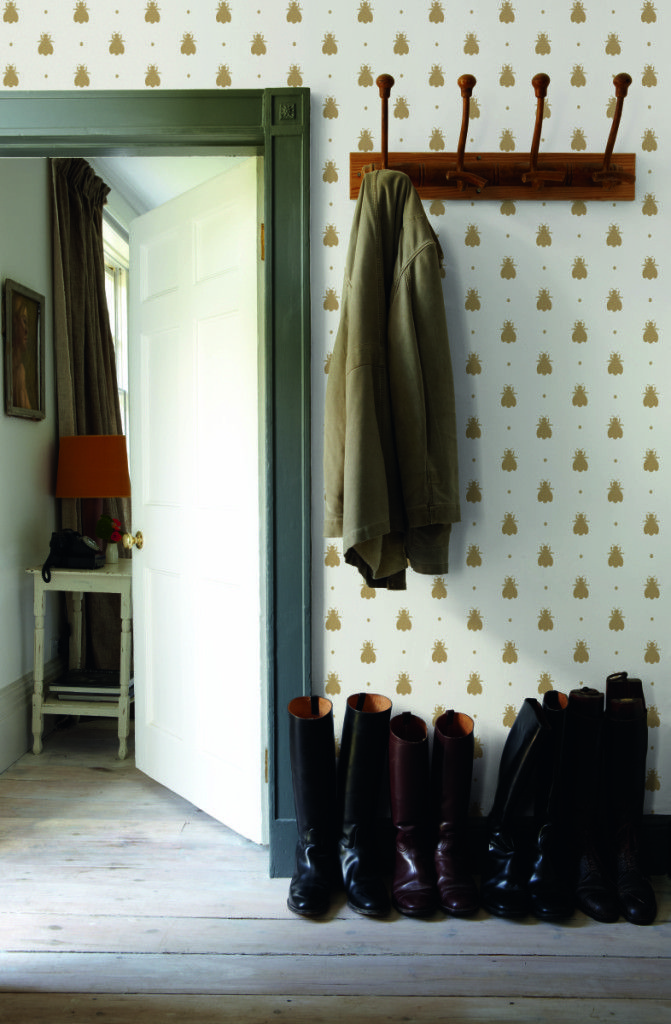 """I have an enormous """"dream home"""" file where I save decorating ideas I'd love to someday try and among them is this Farrow & Ball bumble bee wallpaper. Isn't it darling? The playful print features bumble bees """"sprinkled with cheeky polka dots"""" and was originally found in Josephine Bonaparte's bed chamber as a silk textile. …"""