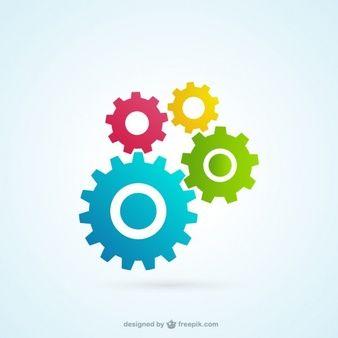 Engrenagens ícones coloridos