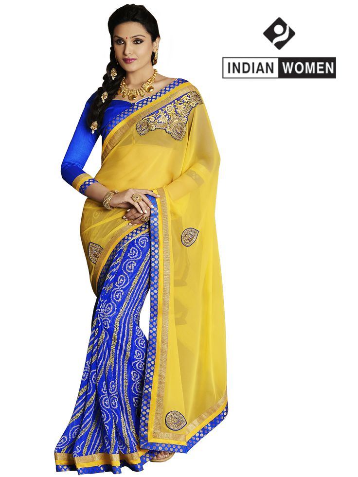 #Lovely #Yellow and #Blue !  #Yellow Georgette Bandhani  #Saree designed with Resham Embroidery. As shown Blue Raw Silk Blouse fabric is available.  INR: 1268 Only  Shop now @ http://goo.gl/ySWK9G