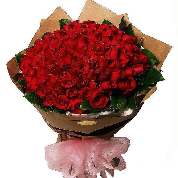 bunga mawar valentine mewah 100 tangkai
