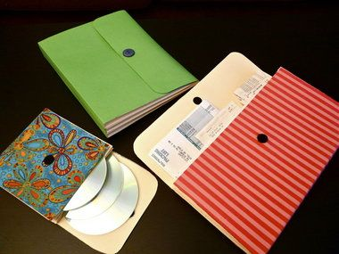 If you have some beat-up old file folders on hand, it's simple to turn them into sturdy, fabric-covered accordion files to organize receipts, backup disks, and other important items. You can make them just the right size for your needs.