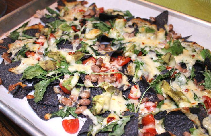 Pinto Bean Nachos- healthy & vegetarian-- soyandsugar.com