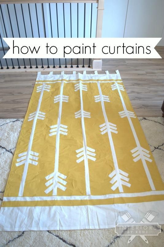 How To Paint Curtains!  Fabric is easy to paint.  These were cheap ikea curtains, turned into trendy custom curtains!