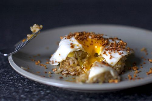 fried egg on ginger fried rice