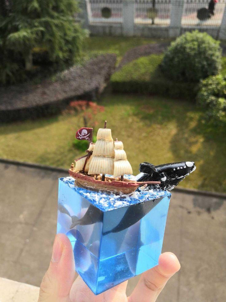 Jellyfish resin paperweight ocean resin diorama real