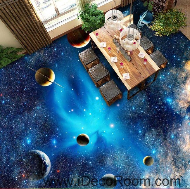 Planet Universe Galexy 00068 Kids Nursery Floor Decals 3D Wallpaper Wall Mural Stickers Print Art Bathroom Decor Living Room Kitchen Waterproof Business Home Office Gift