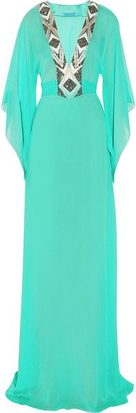Matthew Williamson Blue Embellished Silkchiffon Maxi Kaftan
