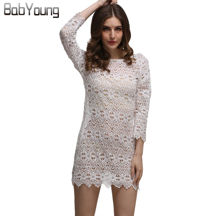BabYoung 2017 Autumn New Long Sleeve Lace Dress Sexy Women Hollow Out Mini Party Dresses Robe Femme Ete Hot Sale Vestidos Mujer
