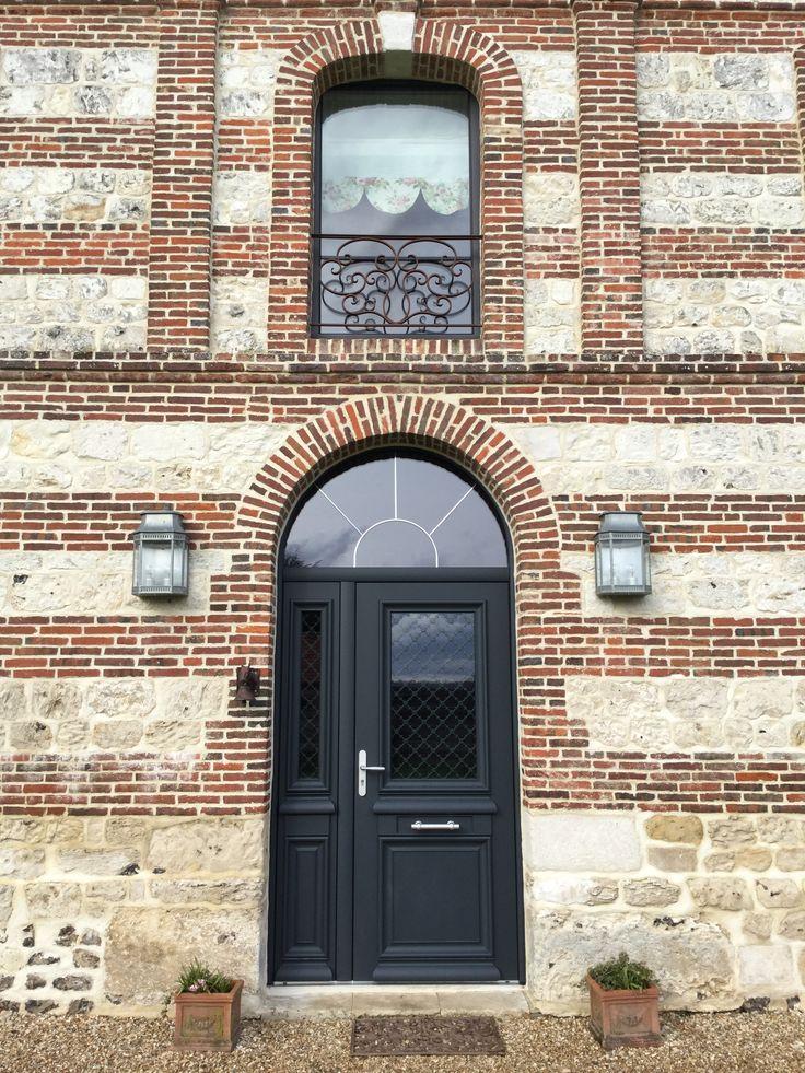 Porte d 39 entr e double battant aluminium b 39 lem athena maison de normandie id e porte - Prix porte d entree athena ...