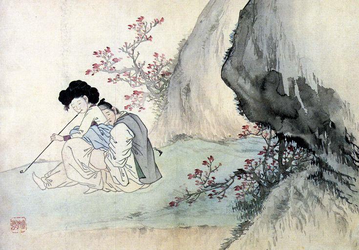 (Korea) Sex side Cherry blossoms by Kim Hong-do (1745-1806). ca 18th century CE. Joseon Kingdom, Korea. 운우도첩