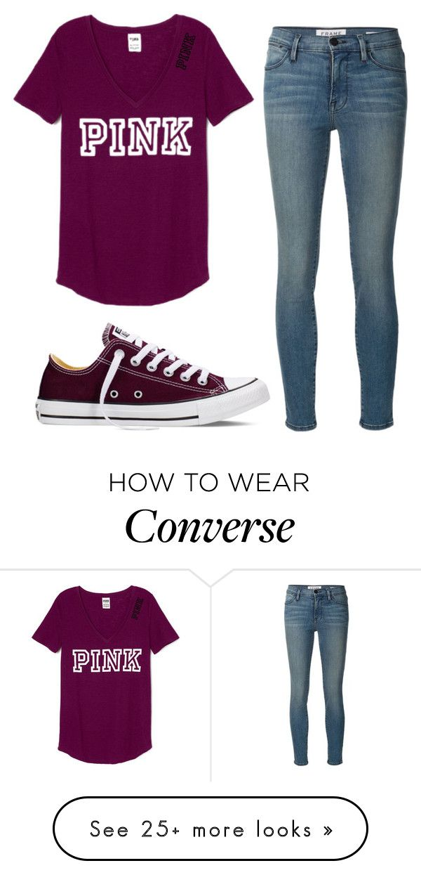 """""""PINK"""" by skylynn14 on Polyvore featuring Converse, Frame Denim, women's clothing, women's fashion, women, female, woman, misses and juniors"""