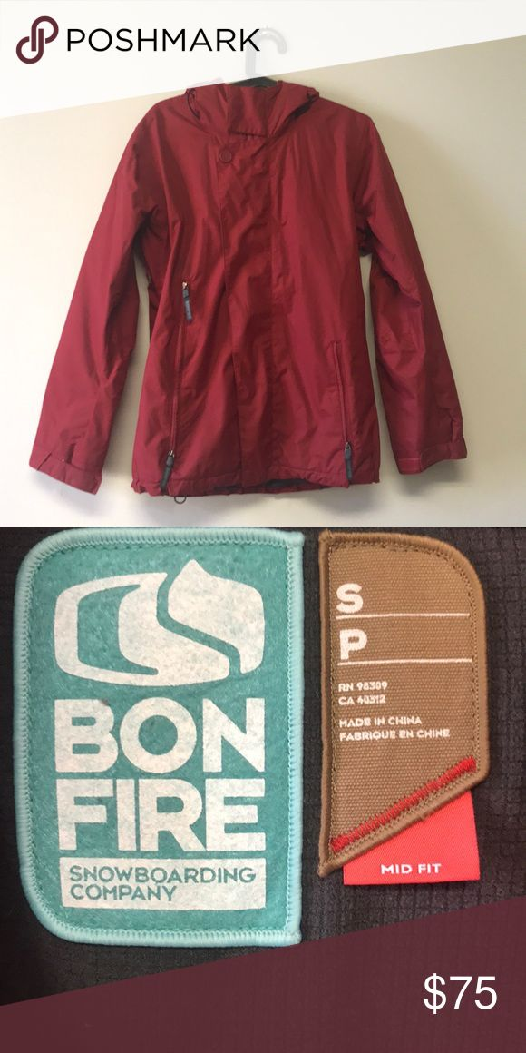Bonfire Snowboarding Company Women's jacket Bonfire Snowboarding Company Women's jacket. Fully Seam Sealed, Double Stitched Seams, Jacket to Pant Connect®, Mesh Backed Pit Vents, Elbow Articulation, Hand Gaiters, Cuff Adjustments with Extensions, Powder Skirt, clear Pass Pocket, Storm Access Smart Pocket, Audio Routing, hood, zip and snap closure. used in good condition. in red. make an offer! Bonfire Jackets & Coats