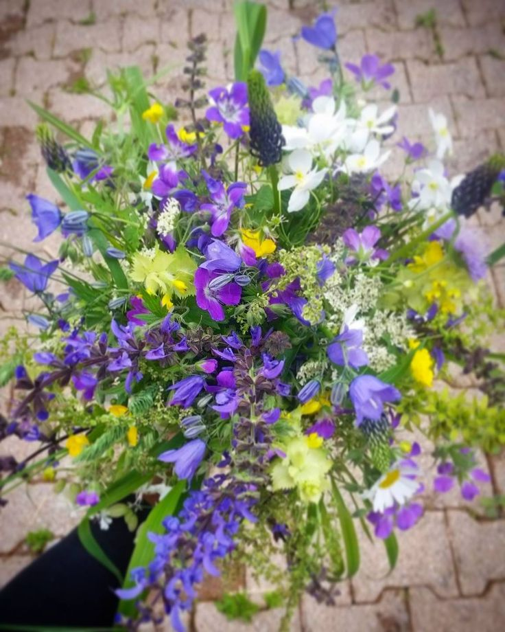 Apline meadow blue wildflower rustic bouquet