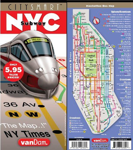 CitySmart NYC Top Subway Map by VanDam - Complete with Super Scale Downtown Map and complete Subway System Map with Manhattan Bus Detail
