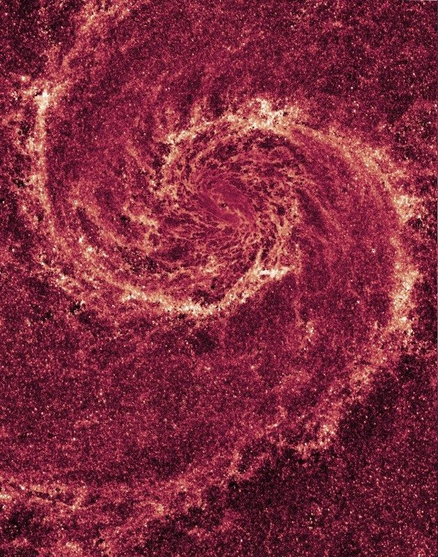 """thedemon-hauntedworld: """"Whirlpool Galaxy in Infared In this striking image of the Whirlpool Galaxy, most of the starlight has been removed, revealing the Whirlpool's skeletal dust structure, as seen..."""