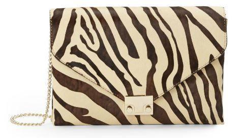Клатч из шкуры теленка с принтом зебры  Calf Hair Clutch  Loeffler Randall