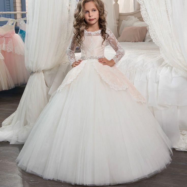 プリンセスロングスリーブレース聖体拝領のドレス女の子ページェントボールガウン花女の子dreses vestidosデcomunion