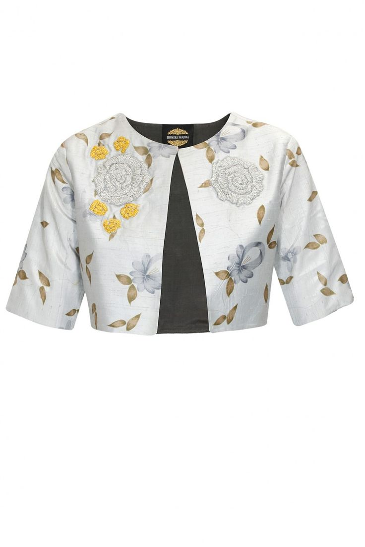 BHUMIKA SHARMA Grey printed flowers embroidered bolero Product Code - BMKC2T1114J5 Price - $ 122
