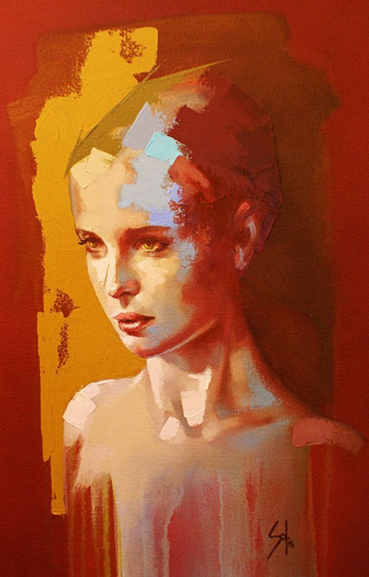 Solly Smook, oil, acrylic on canvas, 2015 {figurative #expressionist art female head colorful woman face #grunge cropped painting drips} sollysmook.com