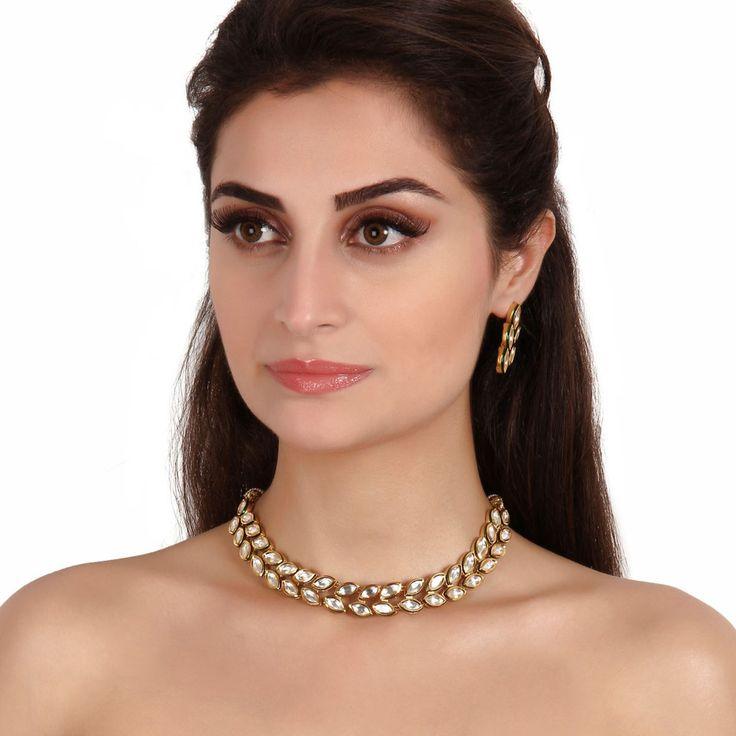 Kundan Necklace TAK112 #Kushals #Jewellery #Fashion #Indian #Jewellery #Necklace #Earrings #Designer #Fashion #choker #chain #Kundan