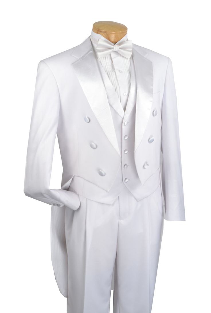 Vinci Mens White with White Vest Tuxedo with Tails T-2X