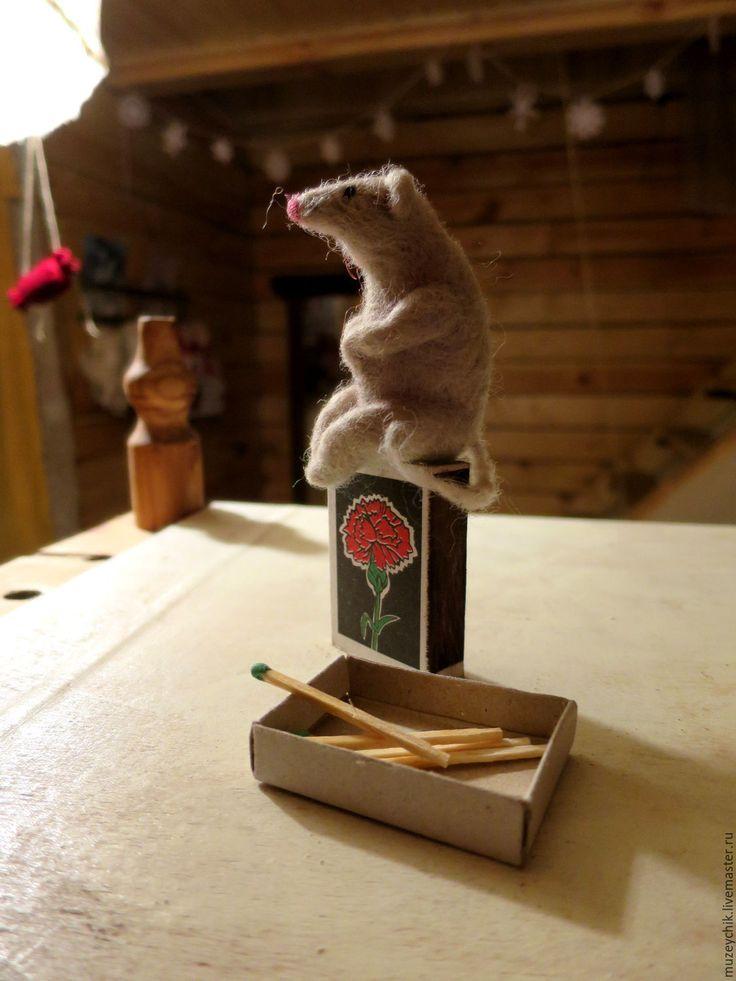 Купить Мышка.мышонок.валяная мышка из шерсти.белая мышь из войлока. - мышь, мышка, мышонок