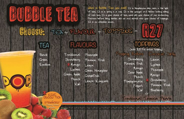 Bubble Tea Menu Old