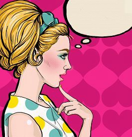 picture of vintage  - Pop Art illustration of blond girl in profile with the speech bubble - JPG