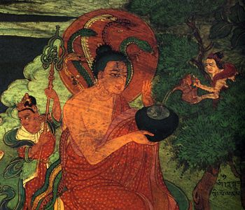 The Tibetan Tree of Life  In Lhasa, Tibet, in the temple of the Dalai Lamas, one can see this striking painting of the great master Nagarjuna drinking ambrosia from the Tree of Life.