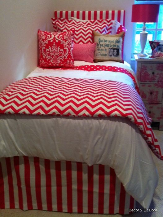Hot Pink Chevron Dorm Bedding Set  I'd love to do this in lime green
