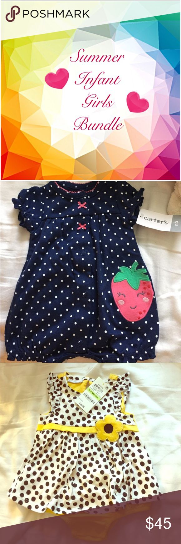 NWT Infant Girls summertime bundle 7 great pieces for your little girl (0-3 m clothes everything else 0+). Items retails at $110 in store. NWT nb Carter's navy polka dot strawberry onesie ($14) NWT 0-3m yellow & polka dot sundress ($18) NWT 0-12m strawberry diaper cover ($12) NWT 3m Carter's heart tee and frog hat ($15) NWT 0-3m mint and flower scarf bib&headband ($18) NWOT Carter's OS fish bib (tiny unnoticeable stain on flower ($12) NWT Lamaze giggle ball ($18) - bought on PM and it sadly…