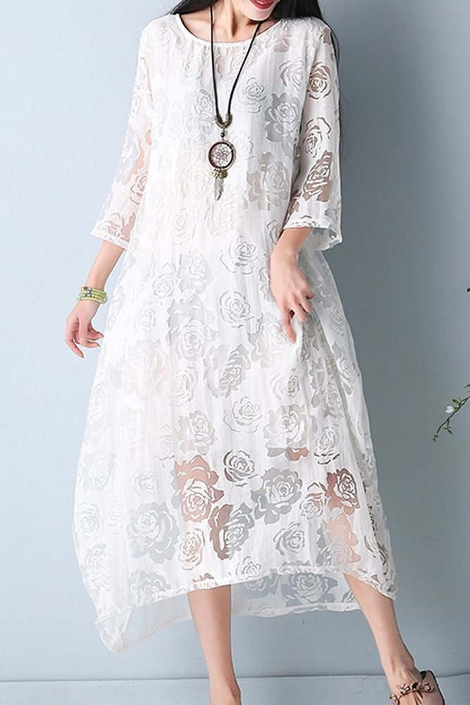 Women loose fitting over plus size lace flower white dress tunic fashion chic #Unbranded #dress #Casual