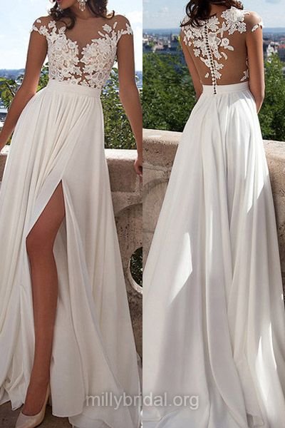 Fabulous A-line White Prom Dresses, Scoop Neck Tulle Chiffon Long Formal Party Gowns, Appliques Lace Cap Straps Ivory Evening Homecoming Dress