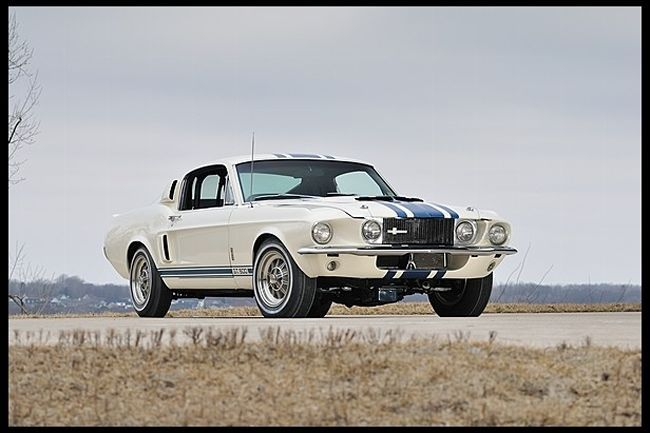 "This Rarest of Rare One Off Shelby that was built in 1967 by Carrol Shelby to test a New Goodyear ""Thunderbolt"" tire line. The 1967 Shelby GT500 Super Snake with a 427ci V8 and goes 170 mph, sold for a Whopping $1.3 Million Dollars at auction back in 2013 and is the only one made like this Awesome Gem ! http://www.mustangandfords.com/events/1402-top-ten-most-expensive-auction-mustangs/"