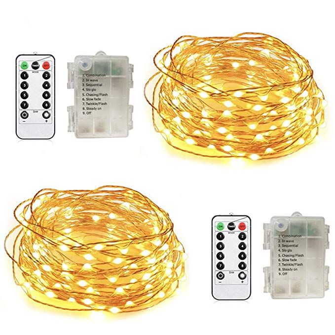 String Fairy Lights Battery Operated 2 Pack Christmas lights Remote